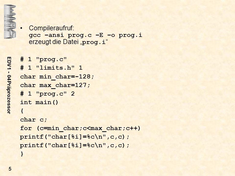 for (c=min_char;c<max_char;c++) printf( char[%i]=%c\n ,c,c); }